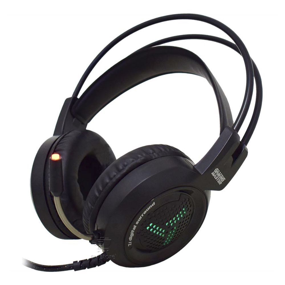 Fone Ouvido Gamer Headset 7.1 Virtual Microfone USB Para PC e Notebook Games 7 cores LED K-MEX ARS2