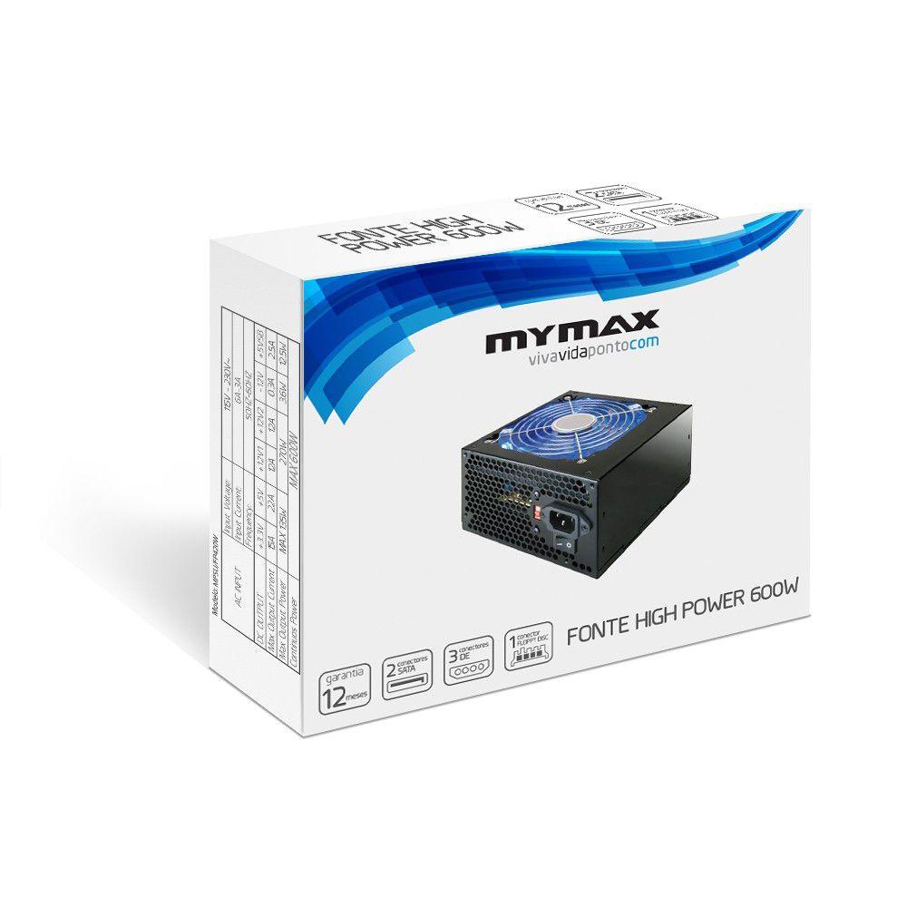 Fonte 600w Atx Real 24 Pinos Com Led Azul Mymax MPSU/FP600W