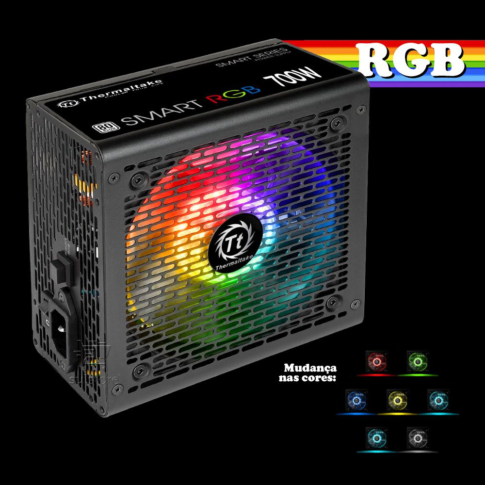 Fonte ATX 700w Thermaltake Smart RGB 256 Cores 80 Plus