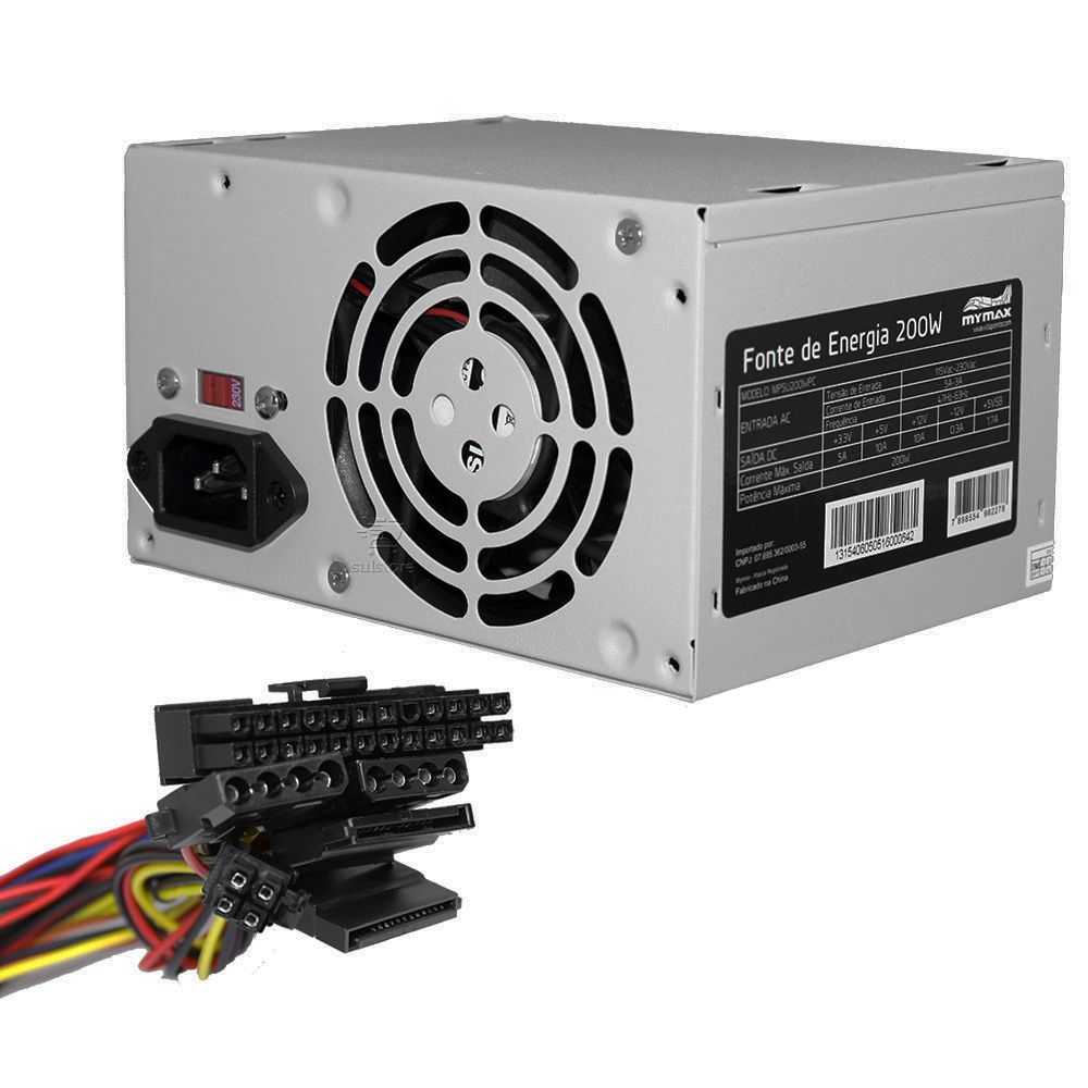 Fonte De Alimentação Para PC ATX 200w Bivolt 2 X Sata 2 X IDE Mymax MPSU200WPC