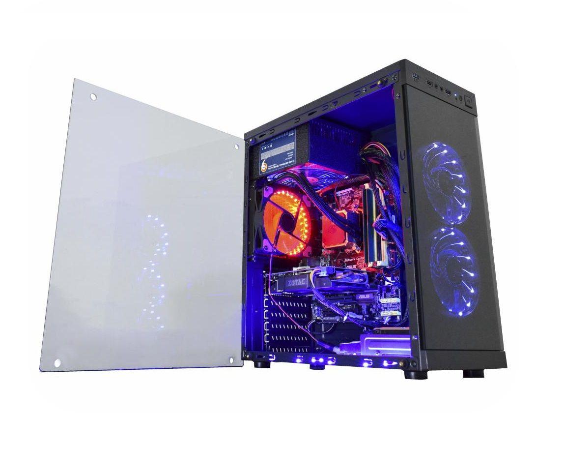 Gabinete Gamer Anjo da Noite LED Azul CG-01F6 Kmex Lateral em Vidro