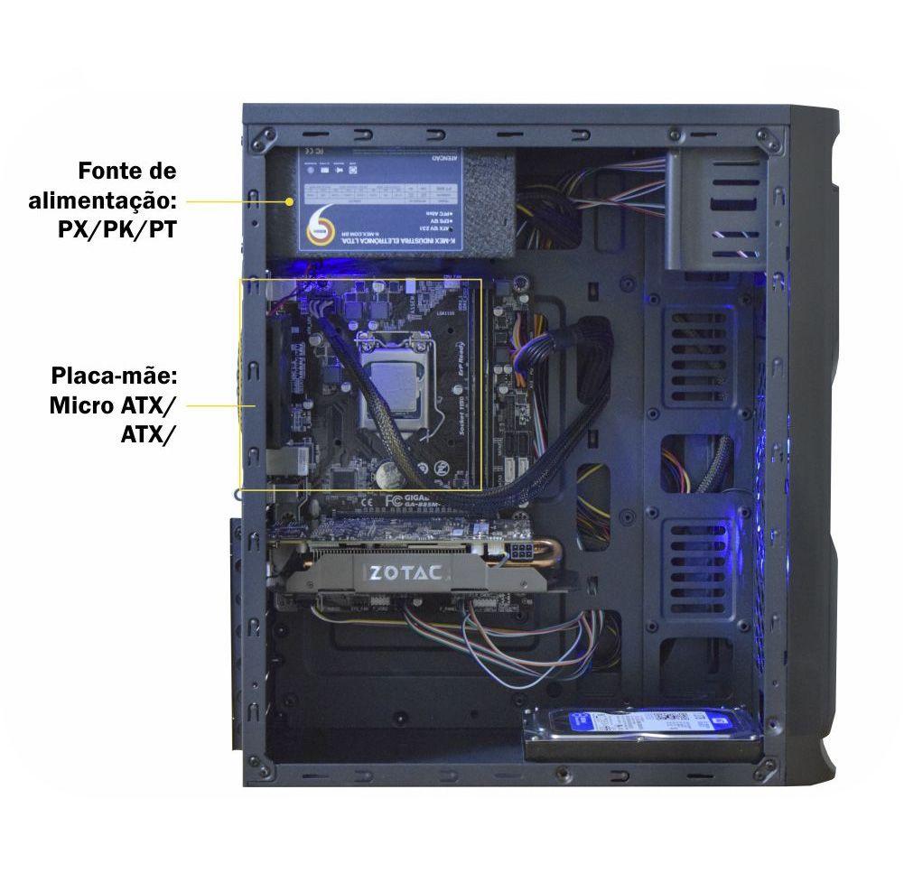 Gabinete Gamer Solid Snake LED Azul CG-02R6 Kmex Micro ATX