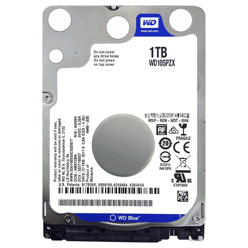 HD de Notebook 1TB Wd Blue 2,5 WD10SPZX Sata 6Gb/s