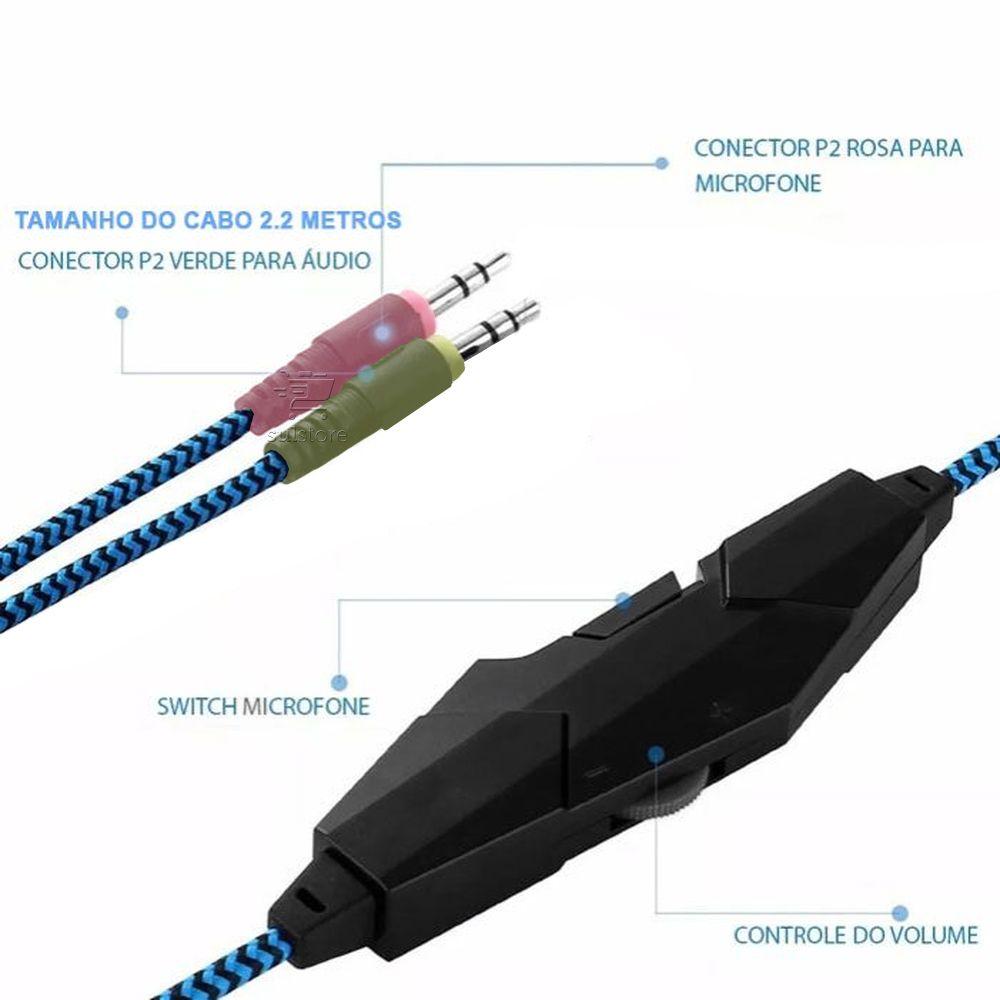 Headphone Gamer Feasso Fone-706 Fone de Ouvido Com Vibração E LED Conexão P2