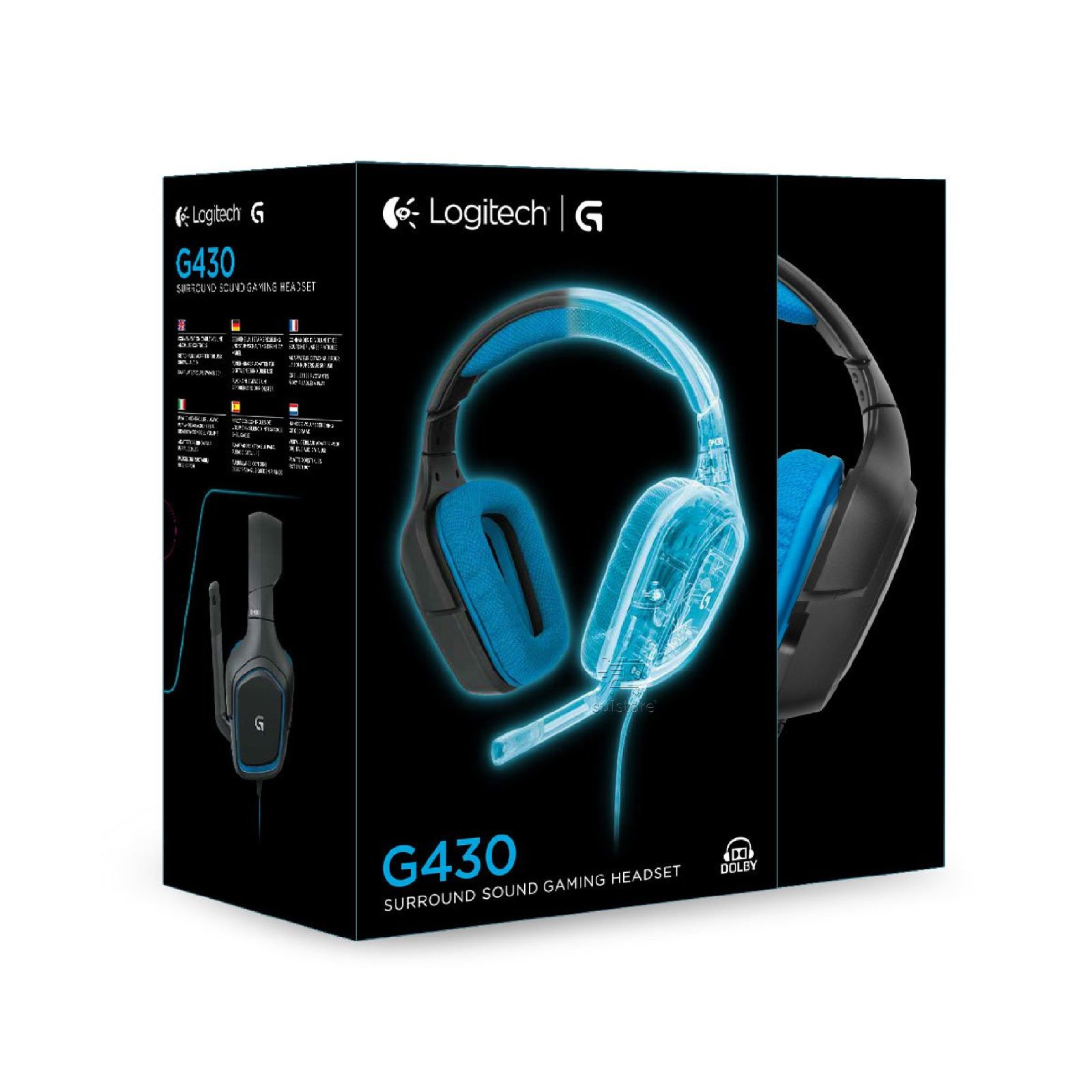 Headset Gamer Dolby Surrond 7.1 G430 Logitech 40mm P2 e USB