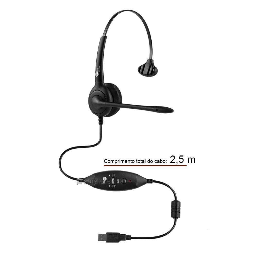 Headset Mono Auricular Top Use FP 350 USB Premium com Microfone Flexível