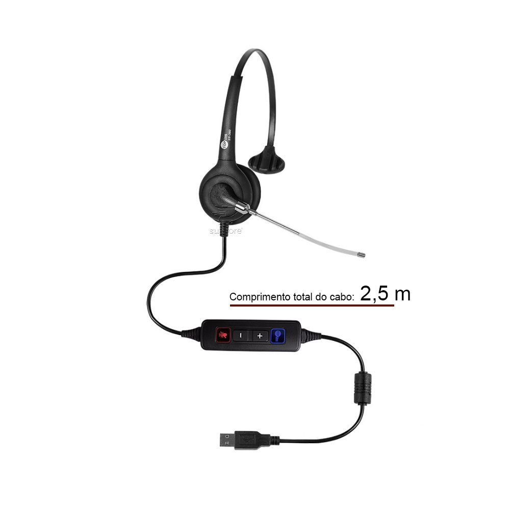 Headset MonoAuricular FP 360 USB Top Use com Tubo de Voz Removível