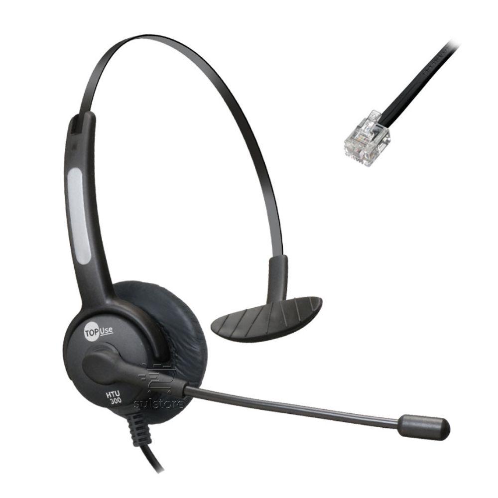 Headset MonoAuricular RJ9 Htu-300 TopUse Haste Flexível Para Telefone IP Posição 01 Invertida