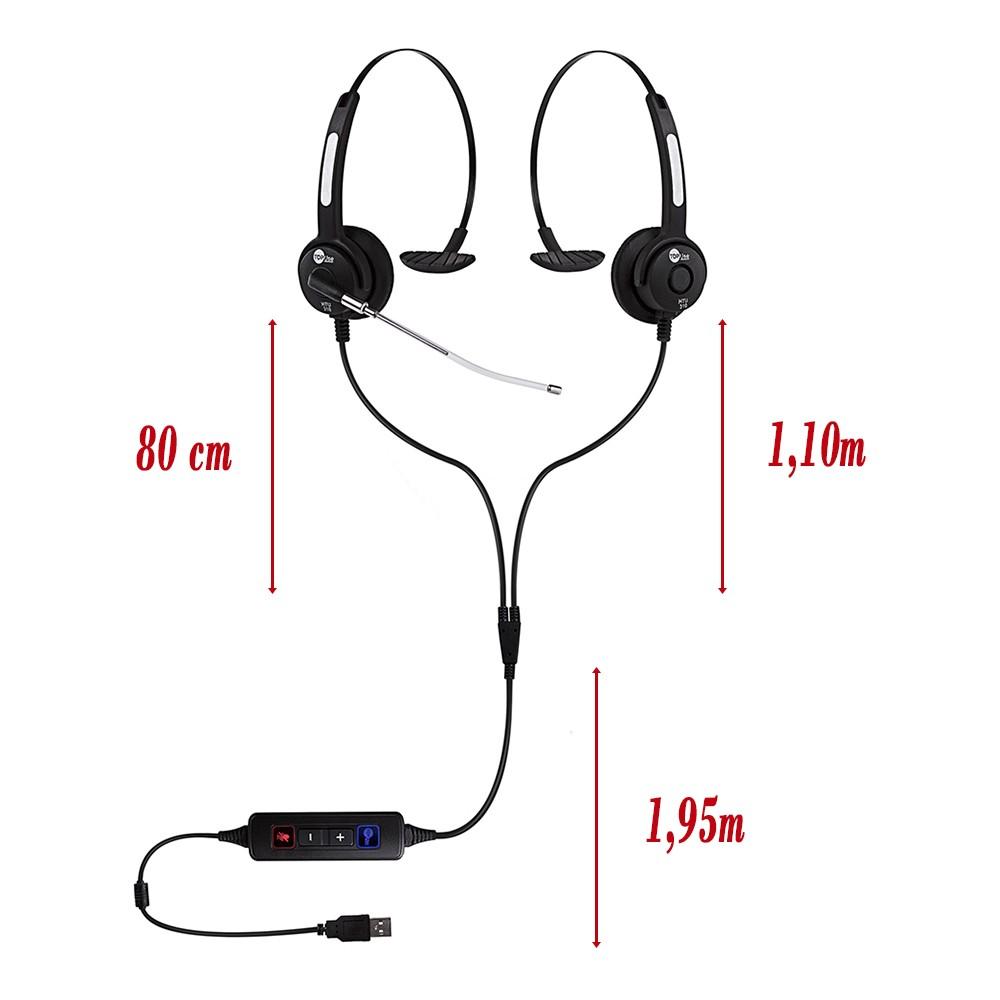 Headset USB HTU-310 KIT De Monitoramento Call Center Help Desk Top Use