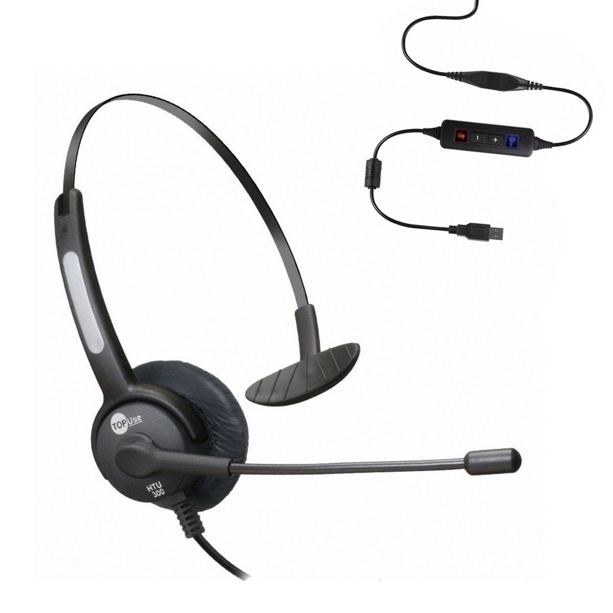 Headset USB Voip Skype MonoAuricular Com Cancelador De Ruído Htu-300 TopUse