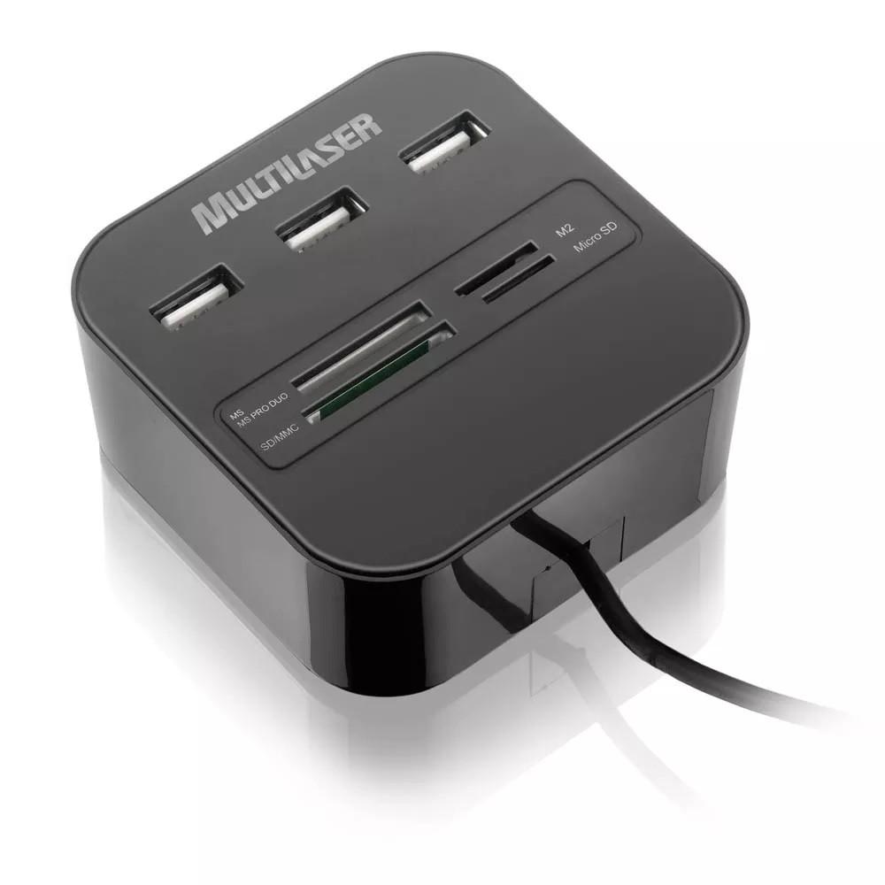Hub USB 3 Portas + Leitor de Cartões 2.0 Multilaser AC121