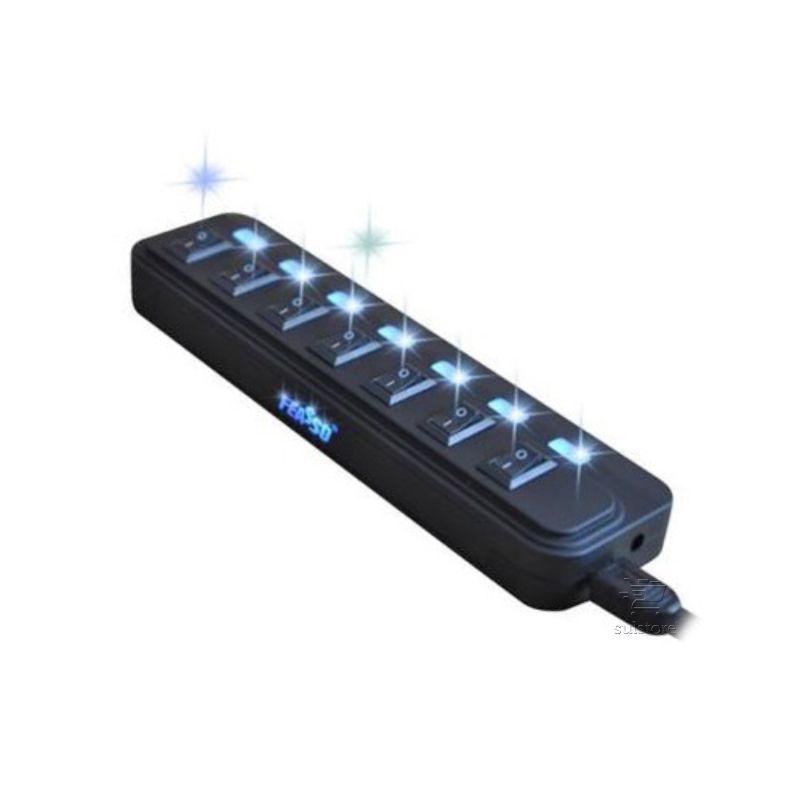 HUB USB 7 Portas Com Fonte Chave Liga Desliga e LED Feasso FAHUB-06
