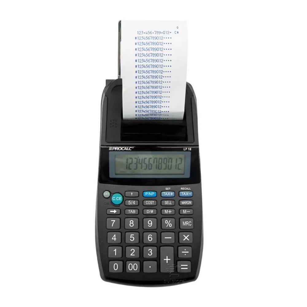 Kit Calculadora Semi Profissional Mercado Procalc LP18 Bobina + Fonte de Energia Bivolt