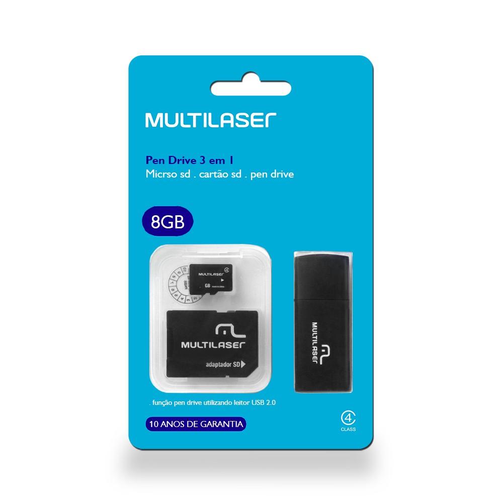 Kit Cartão De Memória Micro Sd 8gb + Adaptador Sd E Pendrive Multilaser MC058