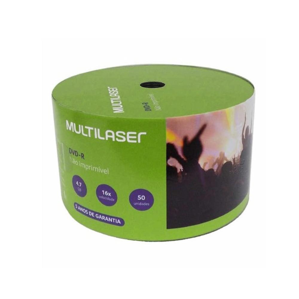 Kit com 50 Mídias Virgens DVD-R 4.7GB 16X Multilaser Shrink DV061