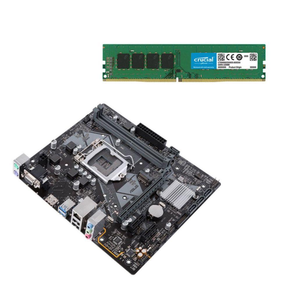 Kit Desempenho Placa Mãe ASUS 1151 DDR4 Para Intel + Memória 4GB 2400Mhz Crucial