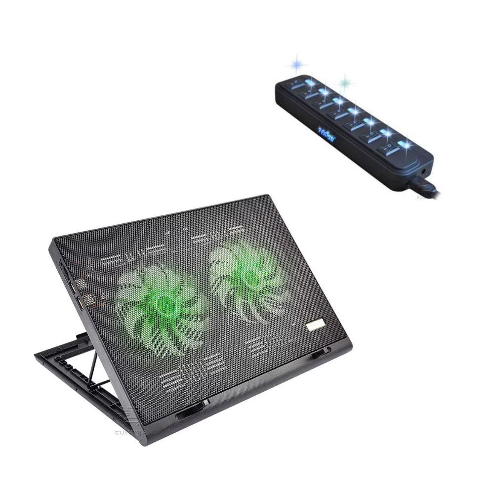 Kit Essencial para Notebook com HUB USB 7 Portas + Base para Notebook com LED Verde
