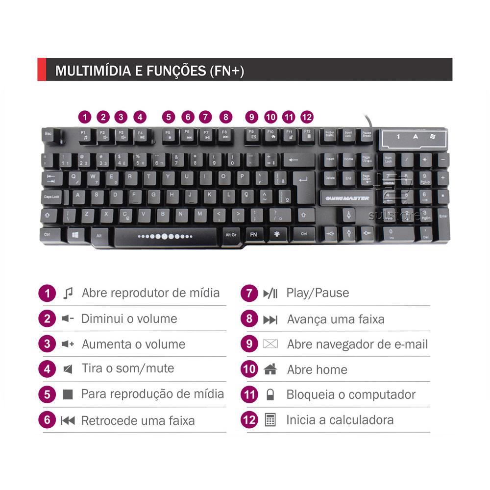 KIT Teclado e Mouse com LED e Mouse Pad Gamer K-MEX KM52 MOA8 FX-X52218