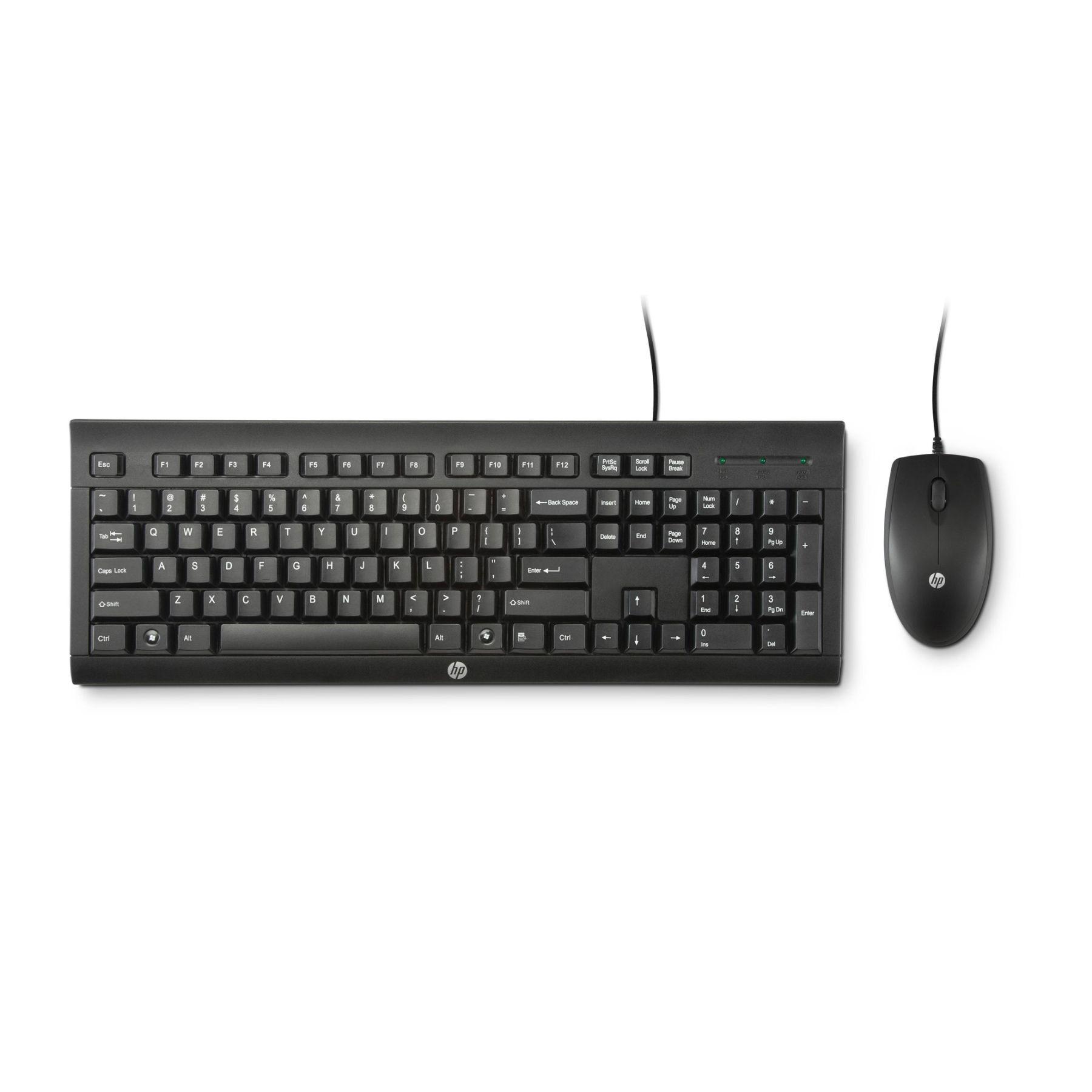 KIT Teclado E Mouse Óptico Com Fio USB HP C2500 Preto