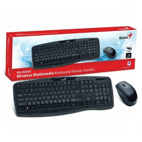 Kit Teclado E Mouse Wireless Genius KB-8000X PT-BR ABNT2