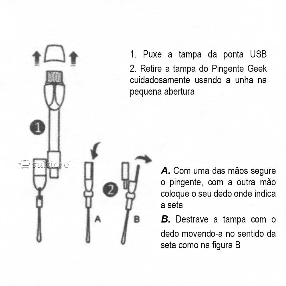 Leitor De Cartão De Memória Micro SD com Conexão USB e Micro USB Pingente AD-118MI C3 Tech