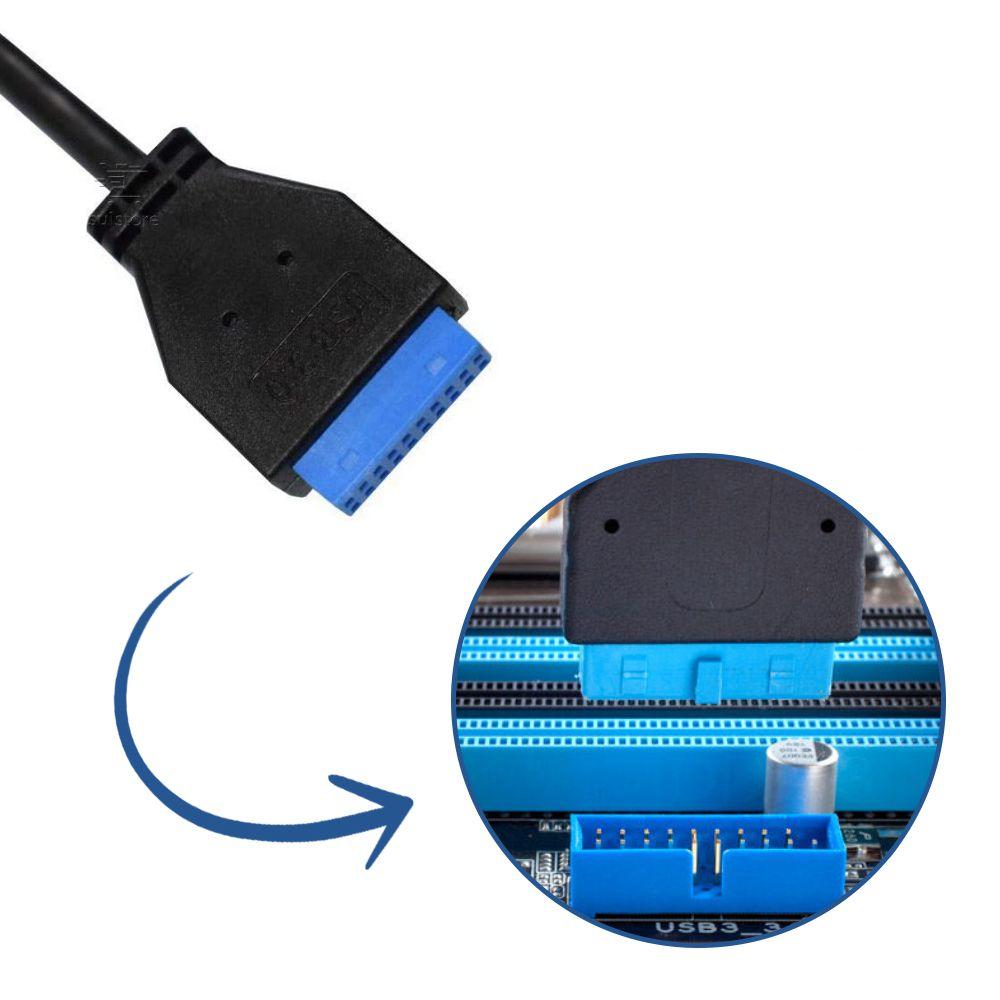 Leitor De Cartões De Memórias Interno K-Mex AC-I84321 Com USB 3.0 Para Desktop