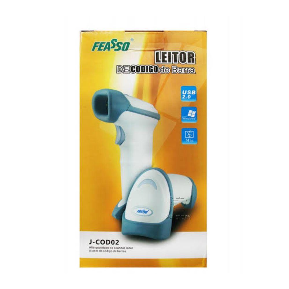 Leitor de Código De Barras Laser USB J-COD02 Feasso Padaria Mercearia Farmácia