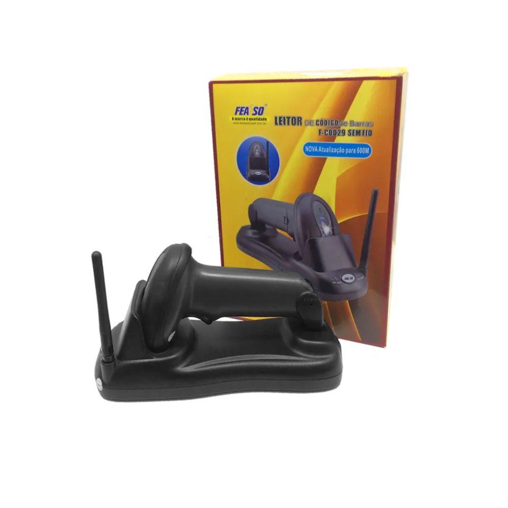 Leitor De Código De Barras Sem Fio Profissional Wireless Com Base F-COD29 Feasso