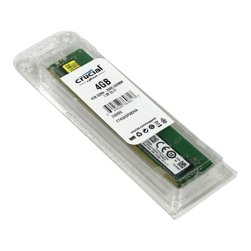 Memória 4GB DDR4 2400Mhz UDIMM CL17 1.2V CT4G4DFS824A Crucial
