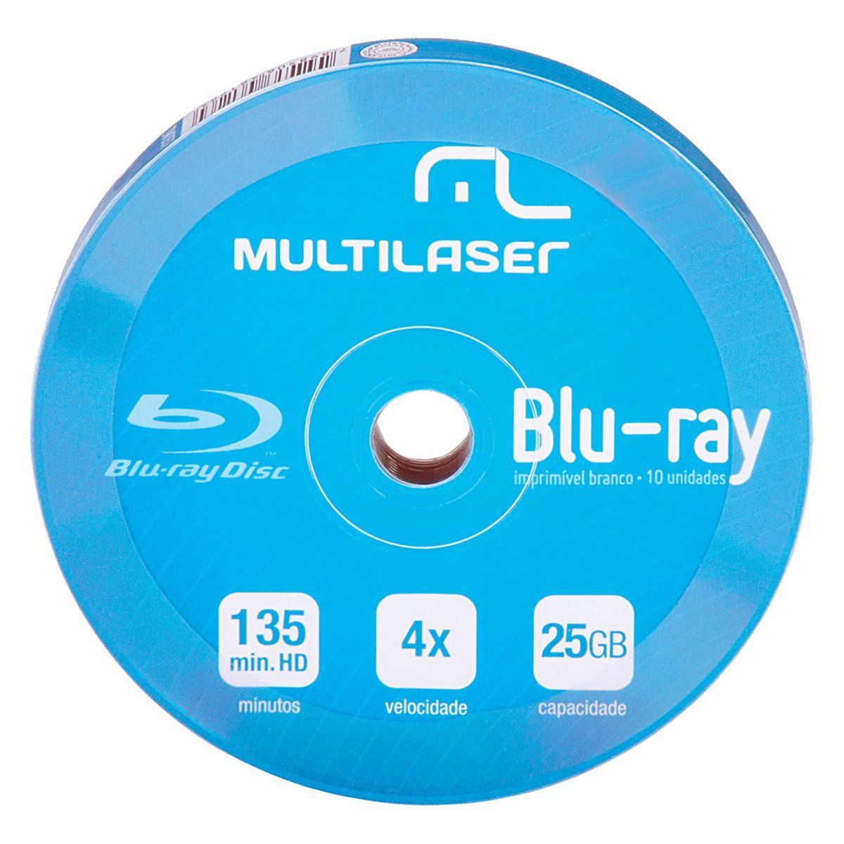 Mídia Virgem Blu-ray Shirink Multilaser 4x Imprimível com 10 Unidades DV057