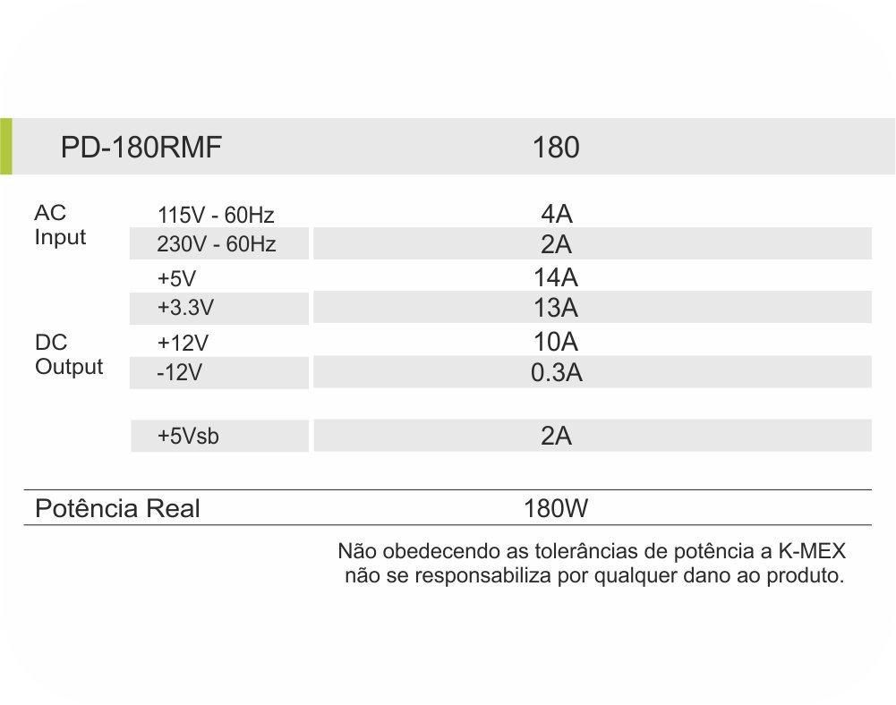 Mini Fonte TFX Slim Kmex 180w Reais Cooler 80mm C/ Proteção PD-180RMF