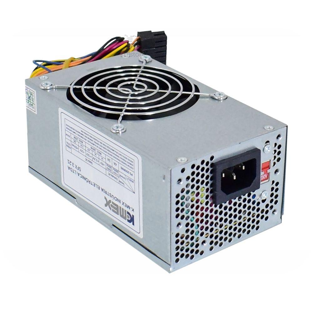 Mini Fonte TFX Slim Kmex 200w Reais Cooler 80mm Com Proteção PD-200RNG