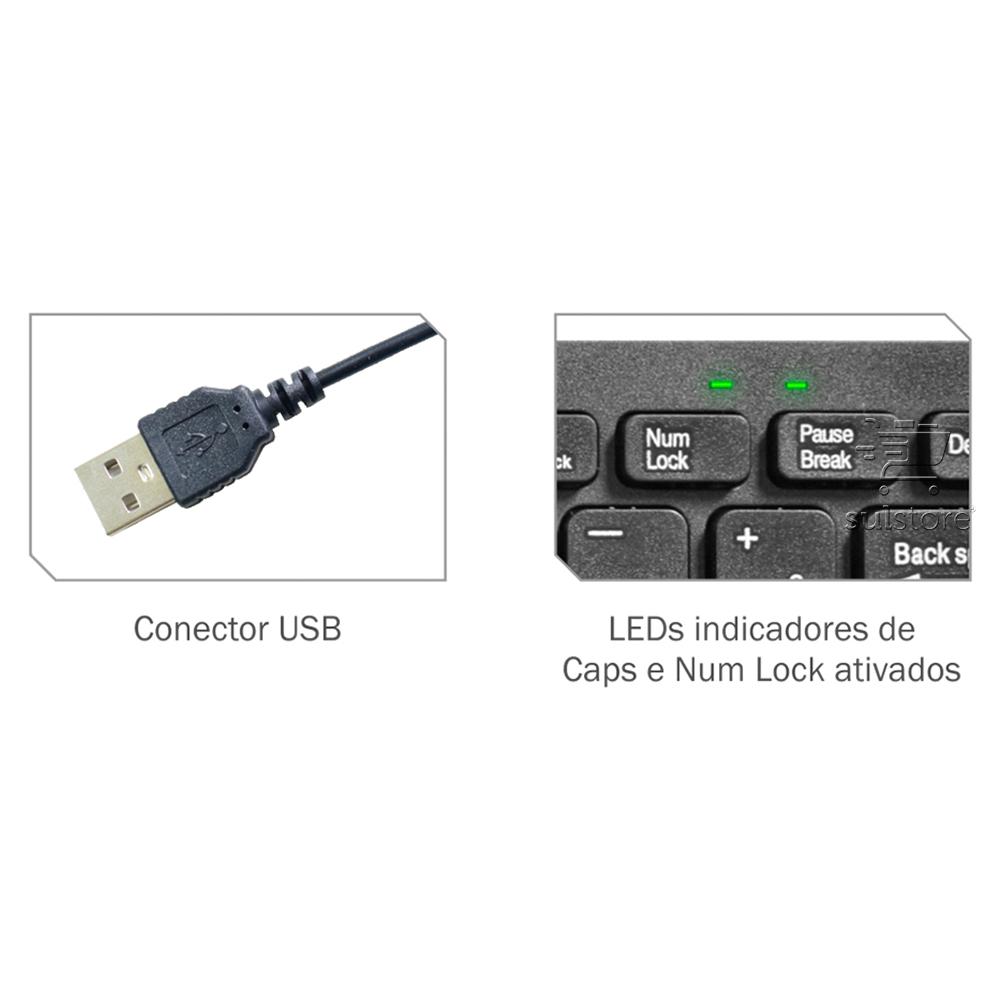 Mini Teclado USB Slim Flat Multimidia Para Note e PC KM-W128 K-Mex