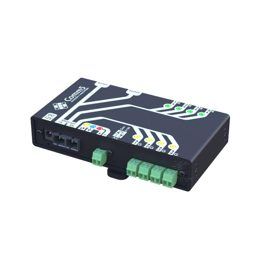 Módulo de Acionamento via rede fibra ótica 100Base-FX com 4 saídas, 4 entradas e 2 Seriais Comm5 MA-5000-2FX