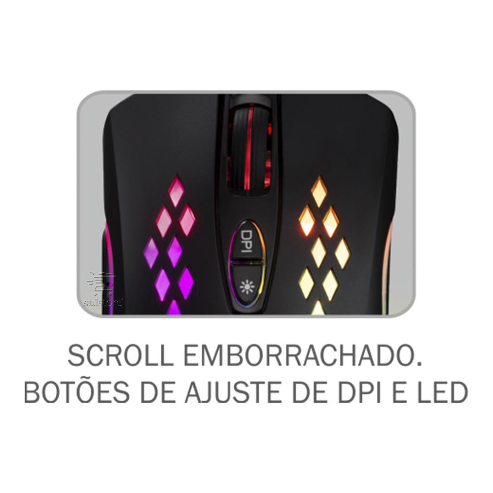 Mouse Gamer K-Mex M370 USB LED RGB 6400 DPI 6 Botões Macro Programável