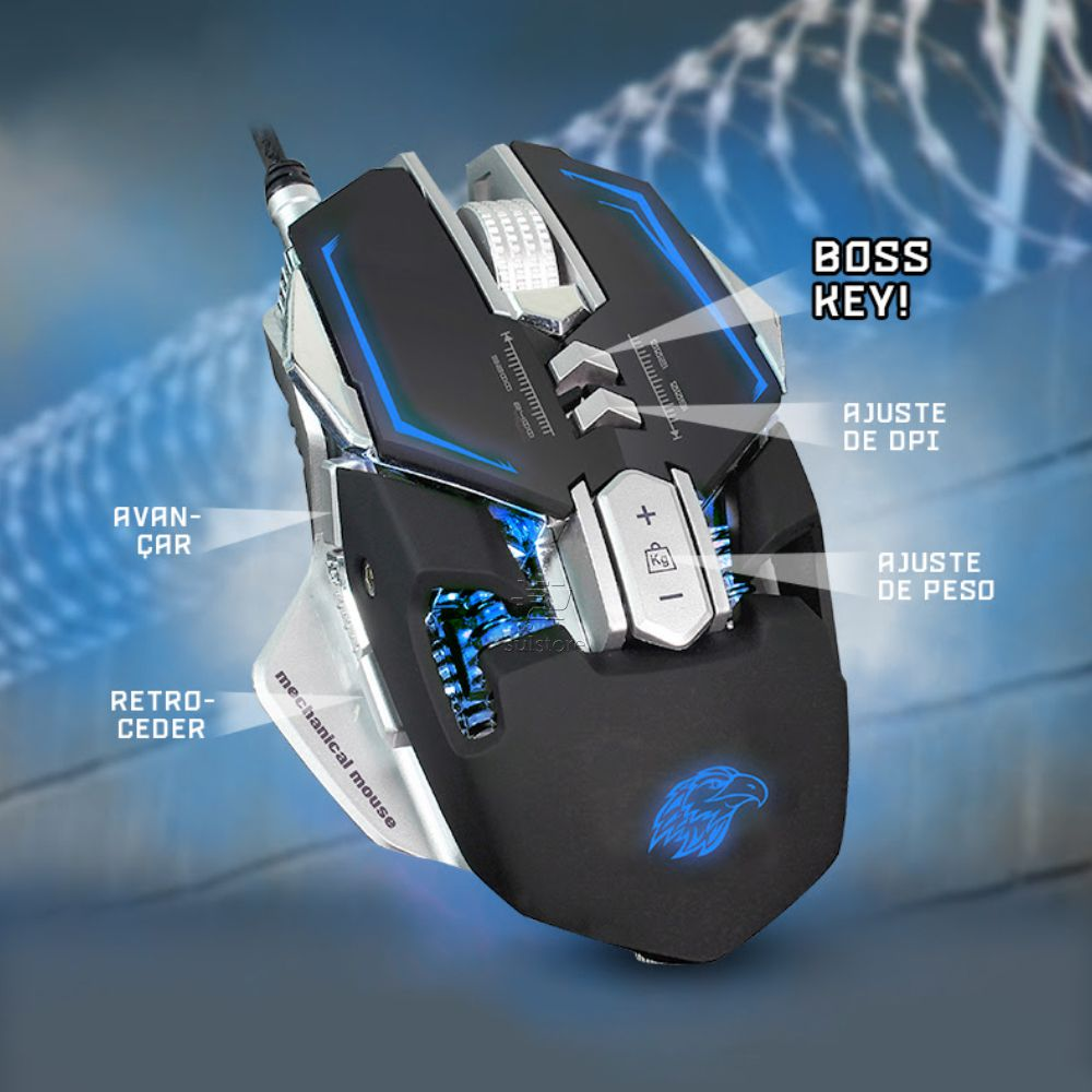 Mouse Gamer Mecânico K-Mex MO-D837 LED 4 Cores + Mouse PAD