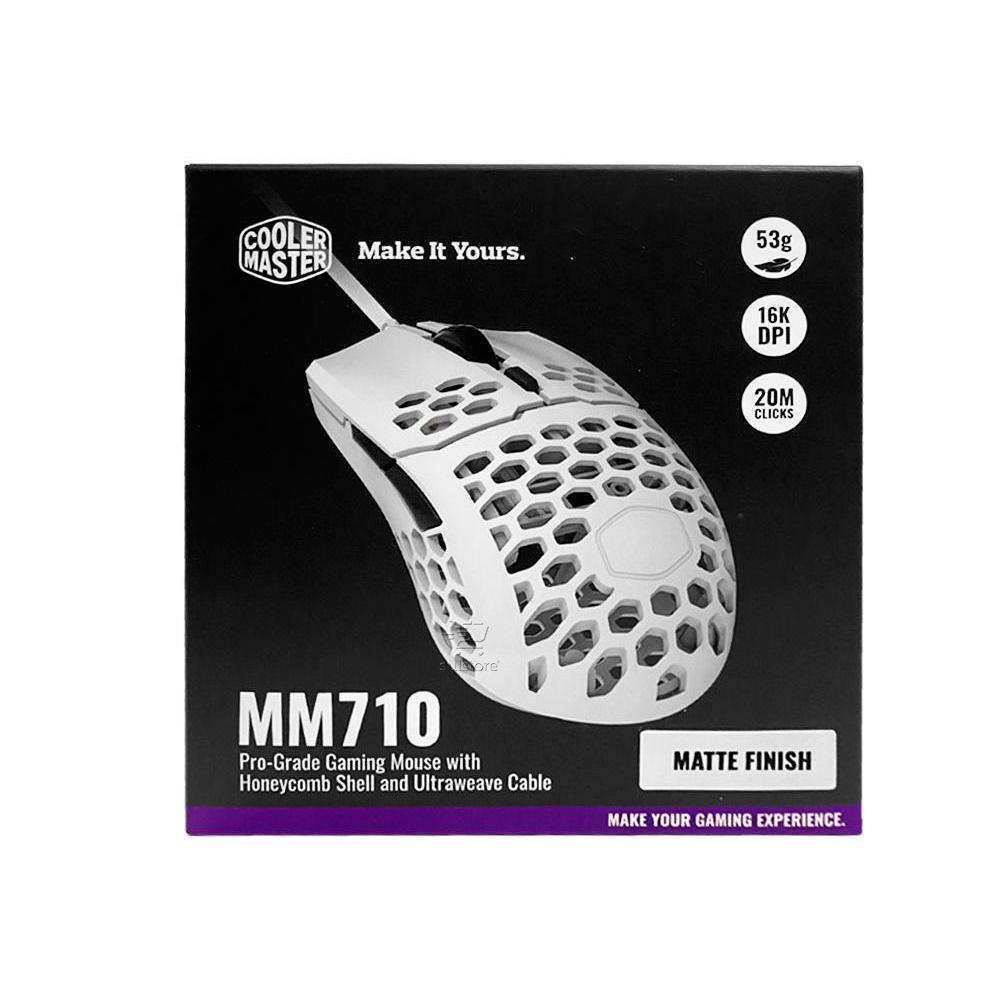 Mouse Gamer MM710 Cooler Master Branco Matte Finish USB 16000 DPI Super Leve