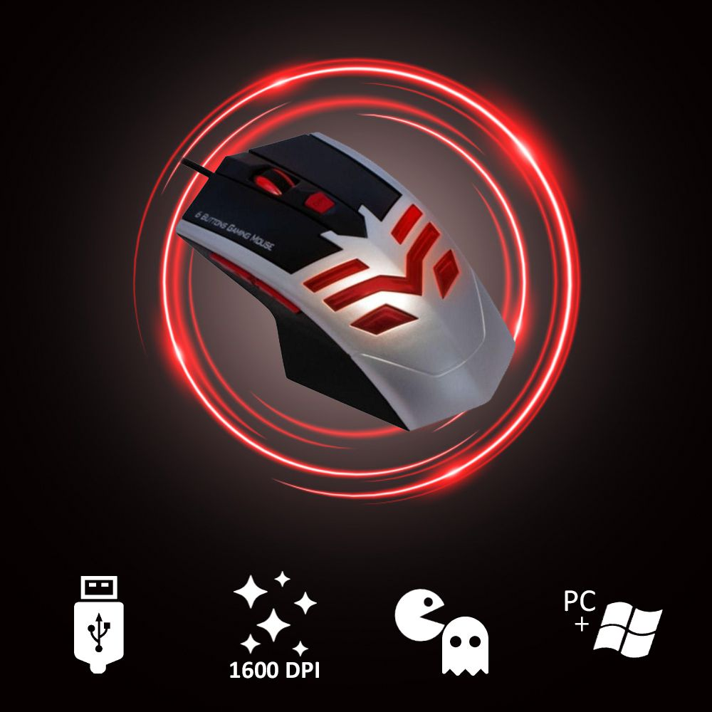 Mouse Gaming 6 Botoes C/ Lateral 1600dpi Gamer Optico Usb Kmex