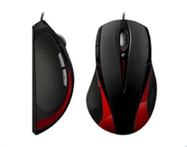 Mouse Laser USB Gamer K-Mex ML-R135 3200 DPI Preto com Vermelho