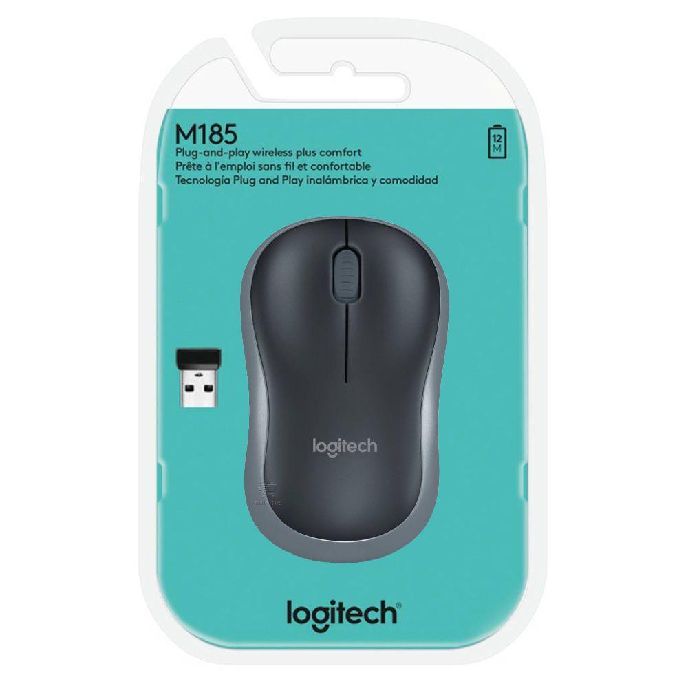 Mouse Logitech M185 Sem fio Wireless 910-002225 Cinza Escuro