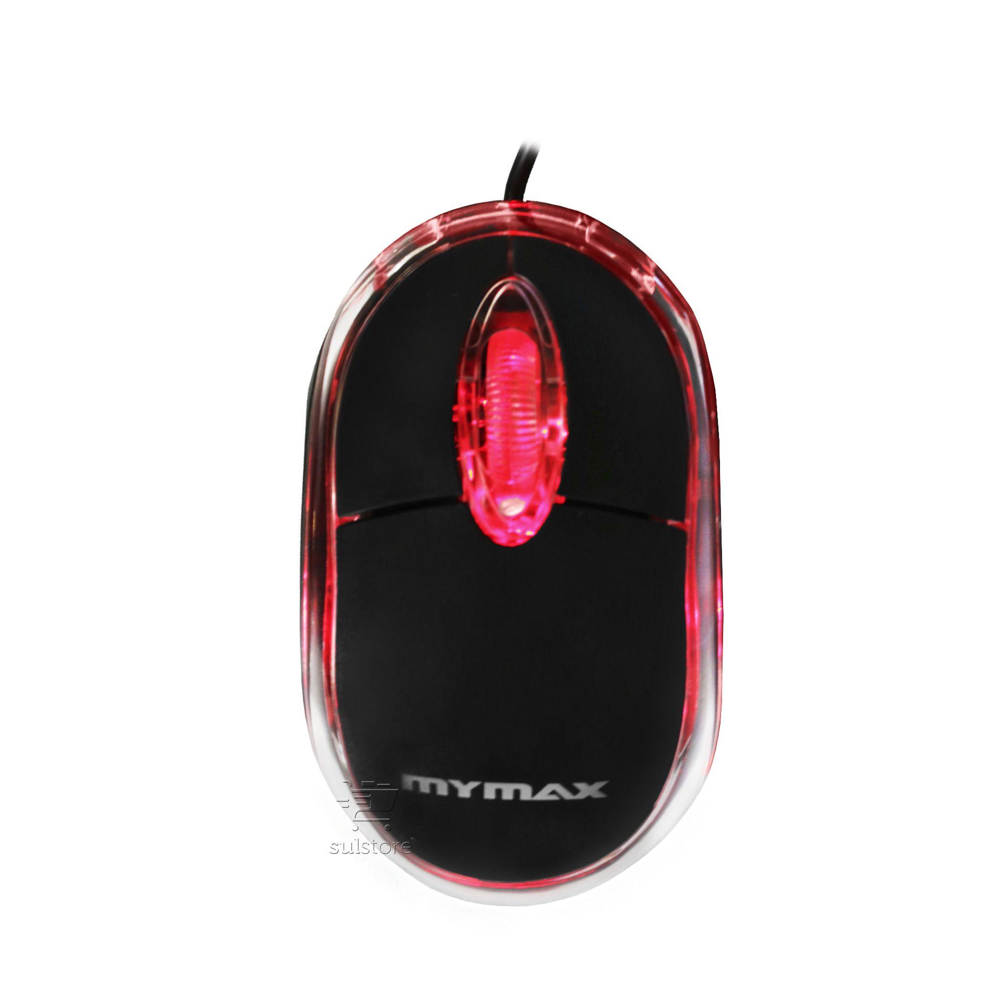 Mouse óptico USB 800 DPI Com Led Vermelho - 3 Botões Com Scroll