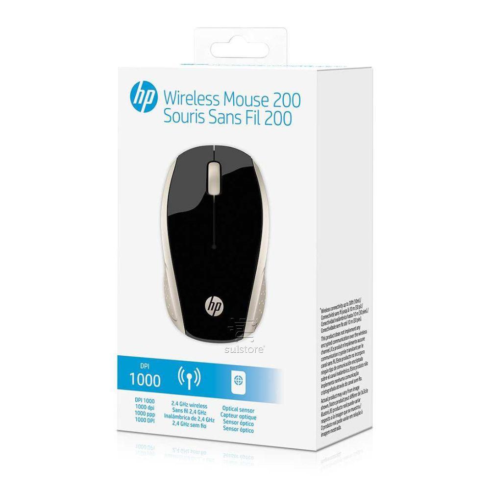 Mouse Sem Fio Wireless HP X200GL 2,4 GHz Oman 1000dpi Optico Preto Com Dourado