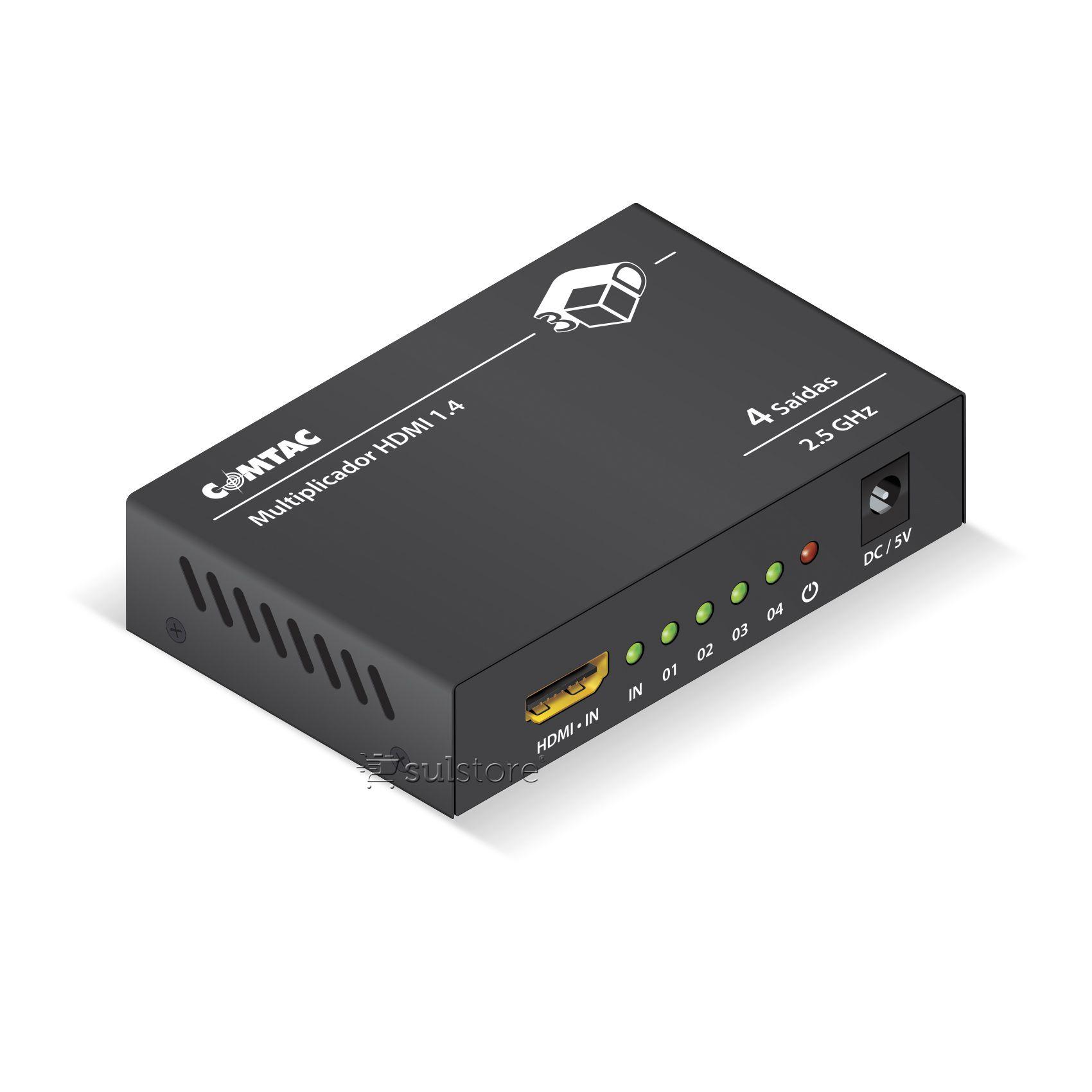 Multiplicador HDMI 1 Entrada e 4 Saídas Splitter Switch Comtac 9286