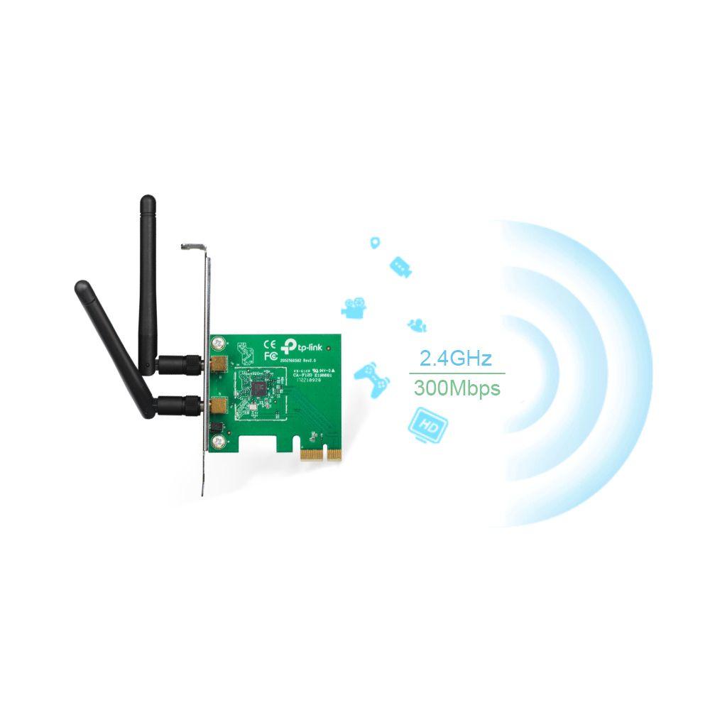 Placa de rede Wireless PCI Express X1 TP Link TL-WN881ND 2 Antenas 300 mbps Com Espelho Perfil Baixo