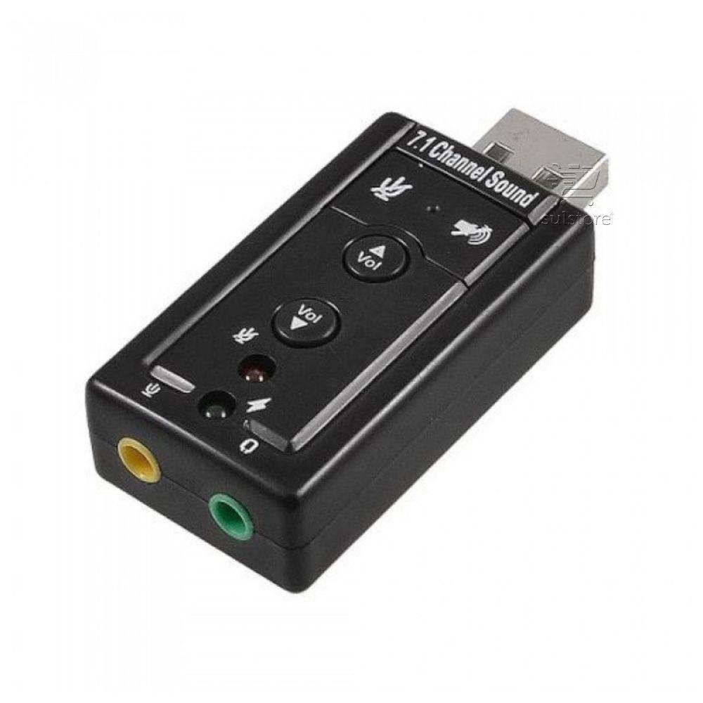 Placa de Som USB 7.1 Canais Virtuais Adaptador Com Entrada Para Microfone e LED Indicador F3 JC-7.1 Sound