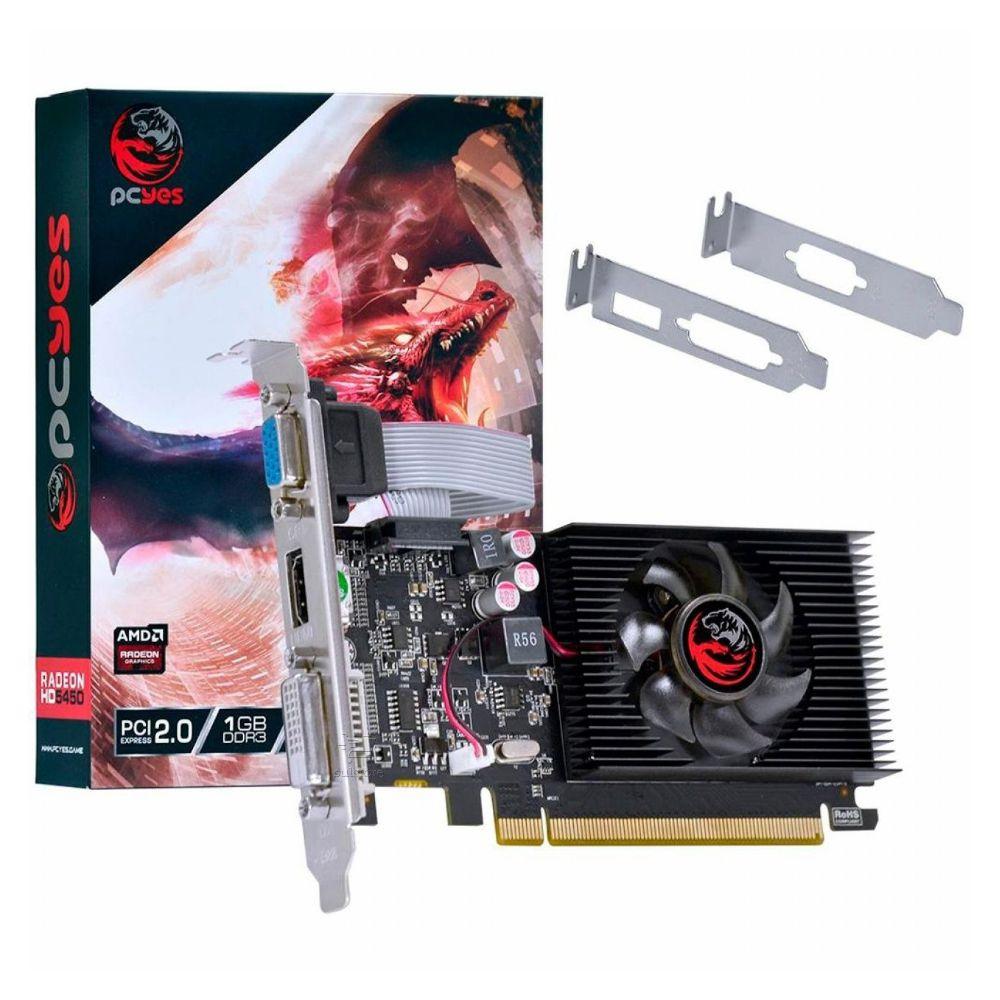 Placa De Vídeo PCYES HD 5450 1GB DDR3 VGA DVI HDMI Com Perfil Baixo Slim PJ54506401D3LP