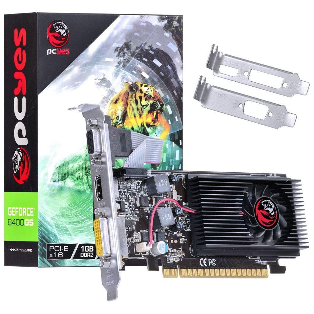 Placa De Video Pcyes Nvidia Geforce 8400gs 1GB DDR2 64 Bits com Low Profile N84S1GD264LP