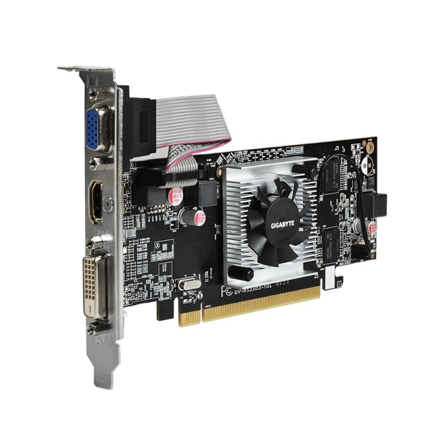 Placa de Vídeo Gigabyte Radeon R5 230 1GB DDR3 PCI-Express VGA HDMI DVI C/ Low Profile GV-R523D3-1GL