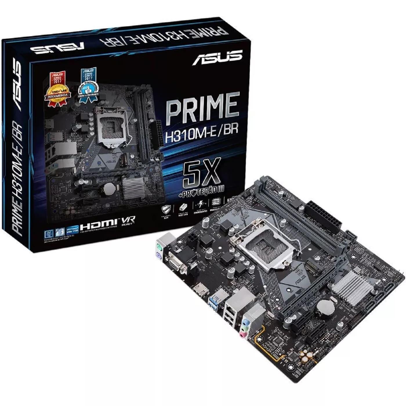 Placa Mãe Asus Intel LGA 1151 DDR4 8ª Geração Prime H310M-E/BR 90MB0Y30-C1BAY0