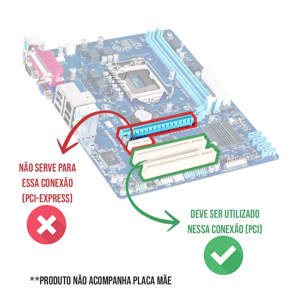 Placa PCI Paralela DB25 com 2 Portas Seriais Feasso JPP-02 Acompanha Perfil Baixo